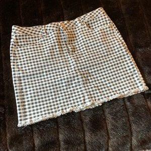 black and white plaid jean skirt